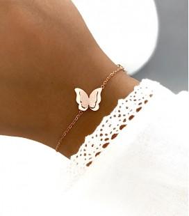 Bracelet PAPILLON Acier Rosé