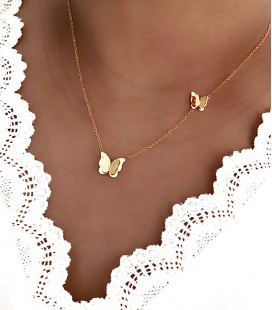 Collier PAPILLON Acier Or