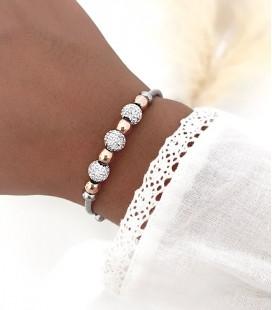 Bracelet THAÏS Acier Argent Rose