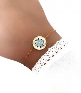 Bracelet JOYA Bleu Acier Doré