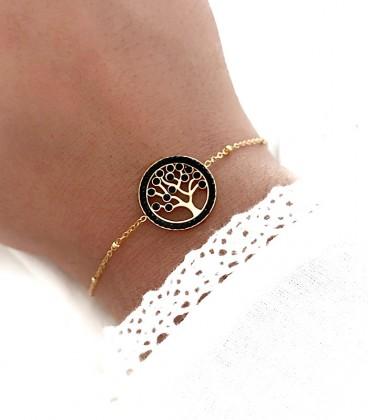 Bracelet ARBRE DE VIE Noir Acier Or
