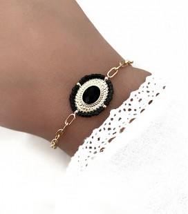 Bracelet ASHA Noir Acier Or